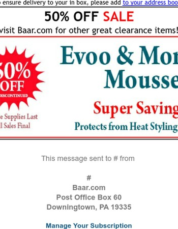 HALF OFF Evoo & Moringa Heat-Protect Mousse! Get it before they're gone!