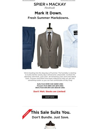 Summer Markdowns. New Sale Items Added For The Heat!