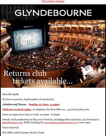 Returns Club: Ariadne auf Naxos, Sunday 25 June