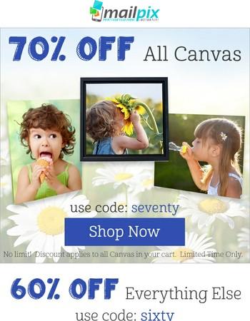 70% Off ALL Canvas! No joke