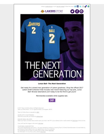 The Next Generation-Lonzo Ball. Shop merchandise today.
