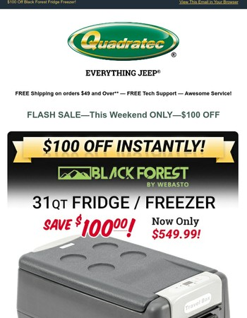 Flash Sale—$100 Off Black Forest Fridge/Freezer For a Limited Time