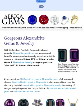 1 Week Left for 20% Off All Alexandrite Gems & Jewelry at AfricaGems