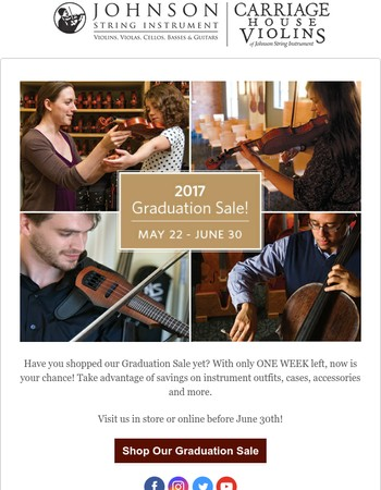 FINAL WEEK: The Graduation Sale at Johnson String Instrument