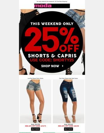 Weekend SALE: 25% OFF Shorts + 7.99 Sale!