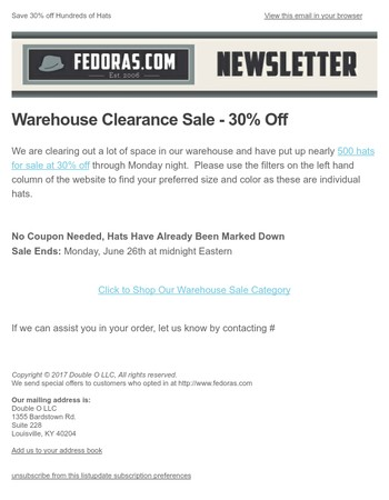 Warehouse Clearance Sale - 30% Off Hundreds of Hats