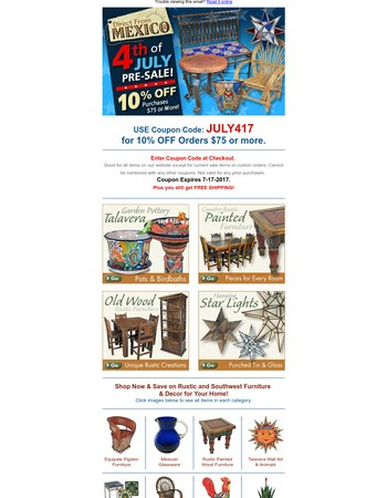 4th of July Pre-Sale! Mexican Rustic Decor, Pottery & More!