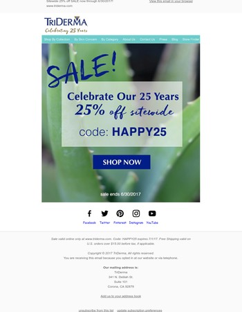 25% OFF Sale for our 25 Years in Business