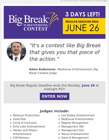 Big Break Regular Deadline! Only 3 Days Left!