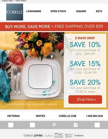 Saturday Savings - Buy More Save More - Up to 20%
