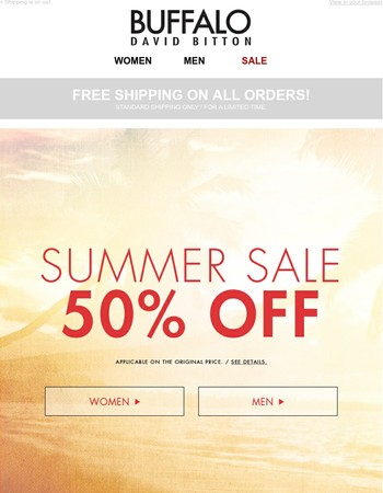 50% off warm-weather styles!