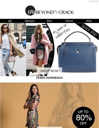 Fendi Handbags, Amelia NY Dresses, Prada, Miu Miu Footwear, Summer Tees For Him & More!