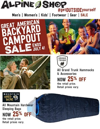 Hammocks, Tents, Sleeping Bags and More 25% Off Now through July 4