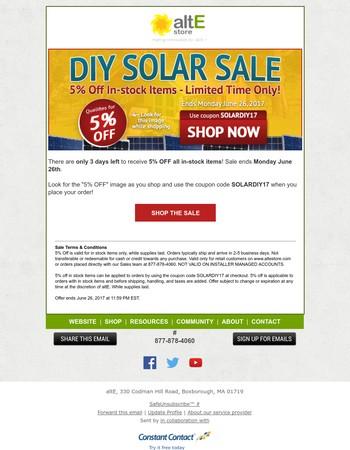 3 Days Left to SAVE 5% - DIY Solar SALE   Coupon: SOLARDIY17