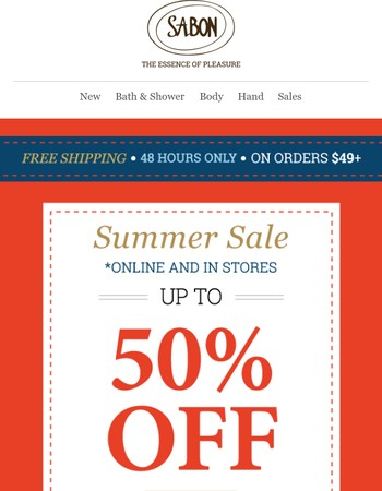 Hello Summer Sale! Up to 50% OFF