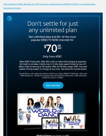 Watch DIRECTV NOW with unlimited data from AT&T