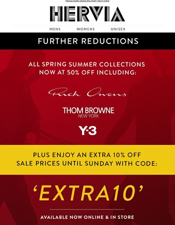 Extra 10% off sale ends Sunday