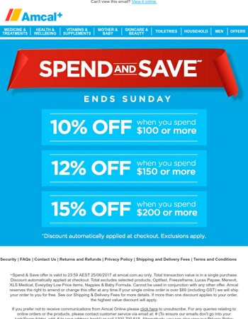 Last chance Spend & Save: 10% off when you spend $100 or more