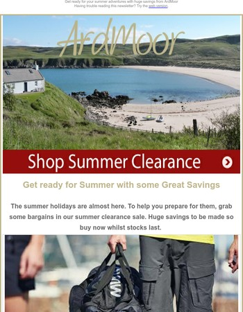 Summer Clearance from ArdMoor with up to 60% off RRP