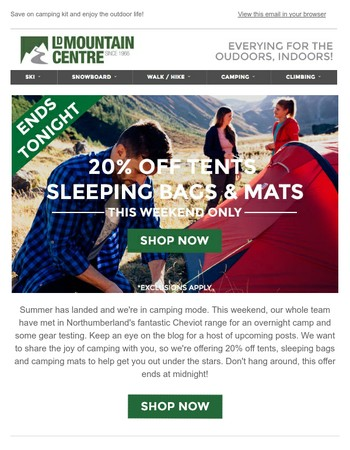20% Off Tents, Sleeping Bags and Camping Mats - Ends at Midnight!