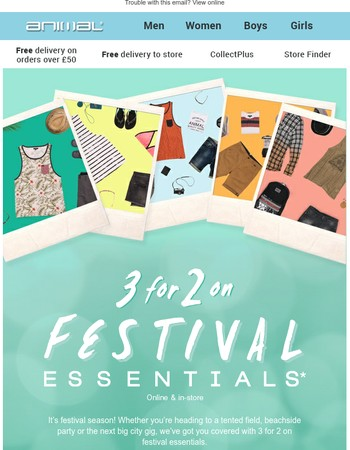 FREE towel when you spend £70 or 3 for 2 on festival essentials!