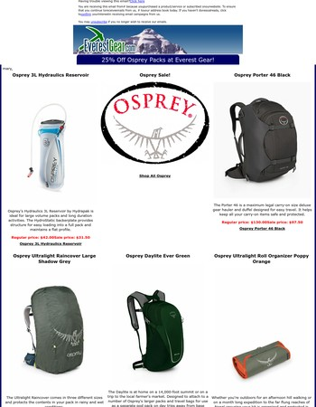 25% Off Osprey Packs on Sale at Everest Gear!