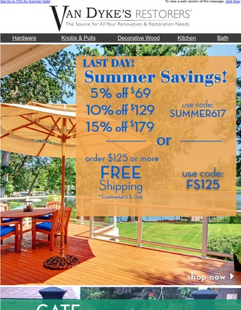 Last Day for Summer Sale at Van Dyke'sl!