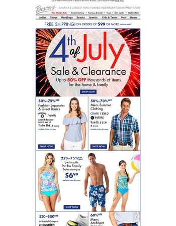 Shop Our 4tth of July Clearance Sale and Save BIG