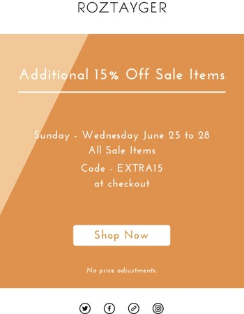 Extra 15% Off Sale - June 2017