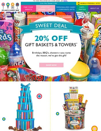 Sweet Deal: 20% Off Gift Baskets & Towers