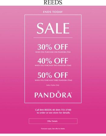 Ends Today: PANDORA Clearance - Up To 50% off