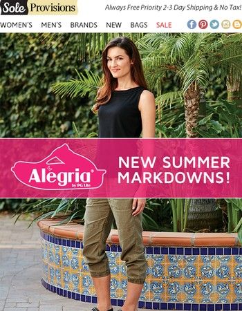 Save Up To 45% Off New Alegria Summer Markdowns!