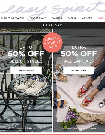 Final Hours! Extra 50% Off Sandals + 60% Off Select Styles
