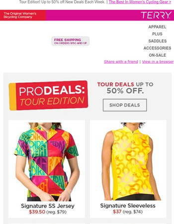 It's time for ProDEALS of the Tour: Up to 50% off. Shop Now >