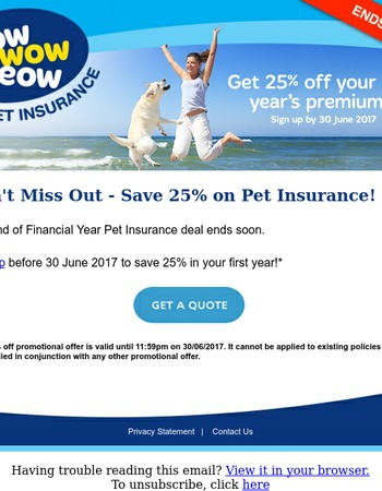 Don't Miss Out - Save 25% on Pet Insurance!