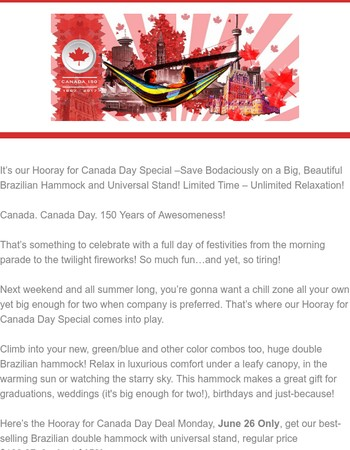 Canada Day Deal – Our Brazilian Double Hammock & Stand Combo! 150 is $150