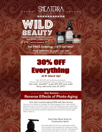 Last Days Big Coupon, Reverse Photo-Aging Edition. Valuable Indigenous Knowledge to Combat Sun's Damage.