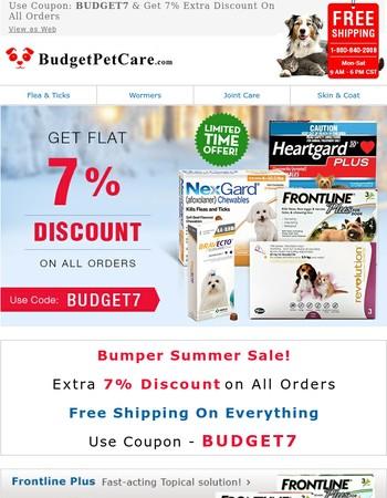 Frontline @18.99 & Heartgard @34.88 | Extra 7% Off | Free Shipping