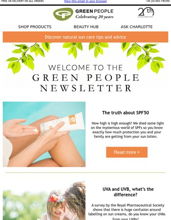 The truth about SPF50 sun creams | Green People blog