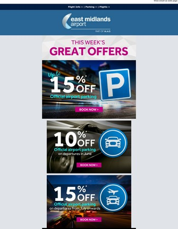 Book your parking today and save up to 15% on any of our official options