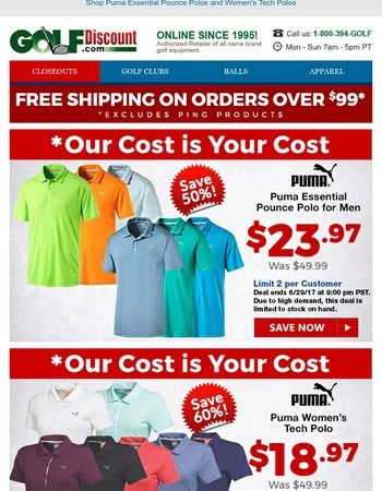 Our Cost is Your Cost: Save Up to 60% on Select Puma Men's & Women's Polos