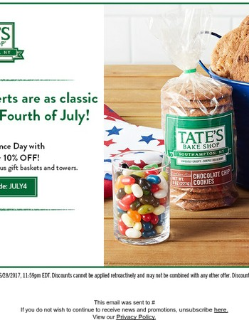 Free Shipping & 10% Off! Celebrate July 4th with Tate's!