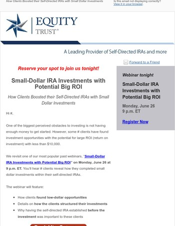 [Reminder] Small-Dollar IRA Investments with Potential Big ROI