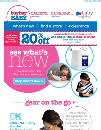 20% off the latest and greatest baby gear!