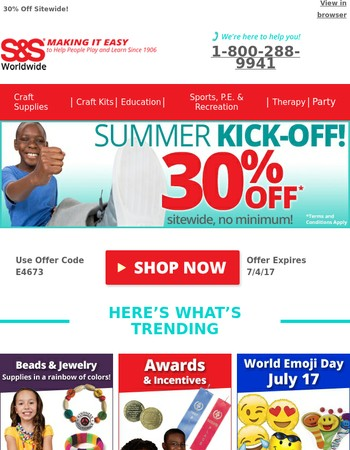 Summer Kickoff Sale - 30% Off Sitewide!