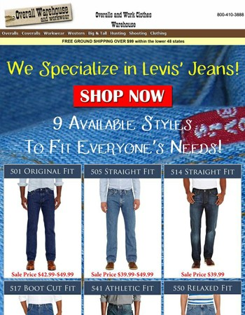 8 Styles of Levi's Jeans On Sale Now!  Buy Today and Save.