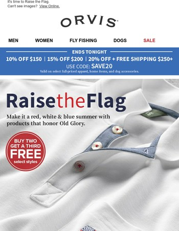 Salute the official colors of summer and save up to 20% with free shipping on $250+.
