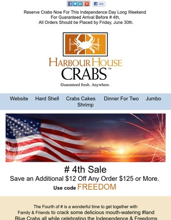 Delicious July 4th Maryland Blue Crabs