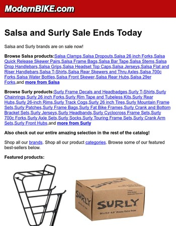 Salsa and Surly Sale Ends Today
