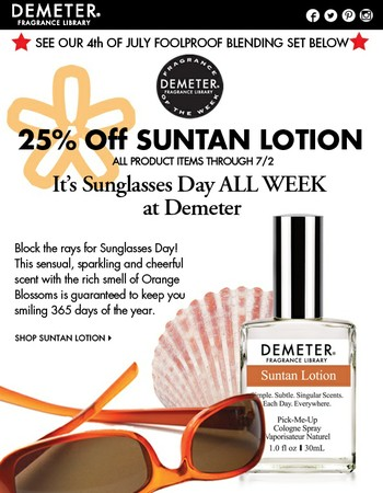25% Off Suntan Lotion now!  All product items